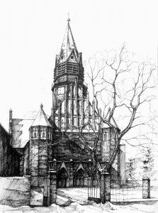 dibujo de iglesia para niños