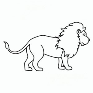 leon animado para colorear