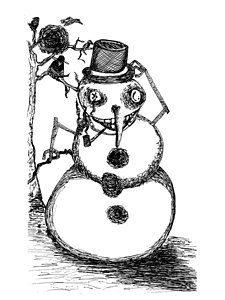 muñeco de nieve pintado