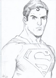 un dibujo de superman